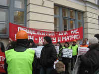 The dormitories of Saint Petersburg: tenants' protest action, RUSSIA, november 2010
